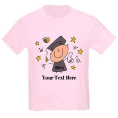 Cafepress Personalized Cute Boy Graduate Kids Light T-Shirt, Size: Kids Small, Pink