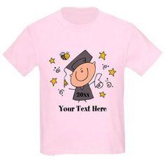Cafepress Personalized Cute Boy Graduate Kids Light T-Shirt, Size: Kids Small, Pink