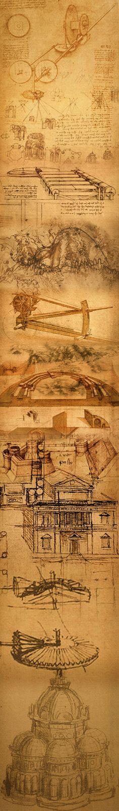 Panoramique vertical de certaines œuvres de Léonard de Vinci
