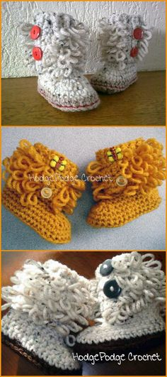 Crochet Revisited Loop Baby High Ankle Booties - Top 40 Free Crochet Baby Booties Patterns