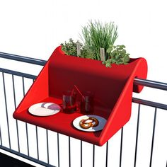 """Fans of small-space living and/or admirers of cleverly designed products will appreciate the space-maximizing design of this """"balcony table. Planter Table, Planters, Small Office Design, Smart Design, Balustrades, Balcony Railing, Balcony Design, Solid Wood Furniture, Deco Design"""