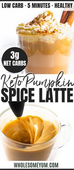 Healthy Keto Pumpkin Spice Latte Recipe - My secret trick for how to make a healthy pumpkin spice latte at home, in just 5 minutes! This healthy KETO pumpkin spice latte recipe tastes like one from a coffee shop, without the sugar. You'll never guess this Pumpkin Spiced Latte Recipe, Pumpkin Spice Coffee, Spiced Coffee, Pumpkin Recipes, Fall Recipes, Coffee Creamer Recipe, Keto Coffee Recipe, Coffee Recipes, Low Carb Cappuccino Recipe