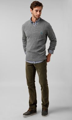 Men's Grey V-neck Sweater, Black and White Gingham Long Sleeve Shirt, Olive Corduroy Jeans, Charcoal Suede Boat Shoes Style Casual, Men Casual, Casual Winter, Guy Style, Men's Dressy Casual, Casual Mens Clothing, Style Pic, Casual Office, Trendy Style