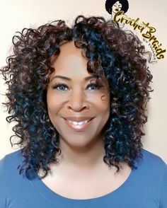 Crochet Braids with Freetress Gogo Curl in color 1B/33. 3 packs cut in half.  #gogocurl #crochetbraids #crochetbraidsbytwana #protectivestyles #braids #curlyfro www.crochetbraidsbytwana.com