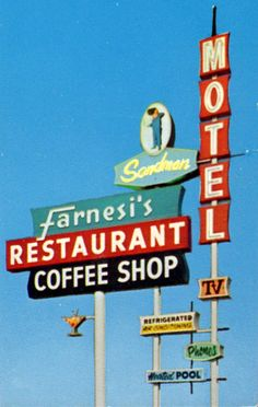 Farnesi's Restaurant & Sandman Motel neon sign - Madera, CA. Refrigerated air conditioning and heated pool?? It don't get much better than that!