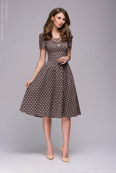 Women Casual Dress Spring Summer Dot Printing Vestidos Women Square Collor ALine Short Dress Size S Color As Picture Spring Dresses Casual, Modest Dresses, Simple Dresses, Elegant Dresses, Casual Dresses For Women, Cute Dresses, Short Dresses, Dresses For Work, Summer Dresses