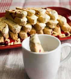 #Nutlove White Chocolate Dipped Cranberry Almond Biscotti - The Girl in the Little Red KitchenThe Girl in the Little Red Kitchen