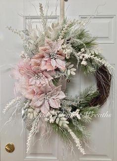 Large Christmas Wreath. Snowy Pink Poinsettia Wreath. Sugar