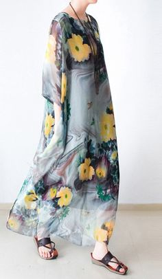 ORIGINAL DESIGN NEW CHIFFON SILK MAXI DRESS PLUS SIZE TWO PIECES SUNDRESS BRACELET SLEEVE PRINT DRESSES