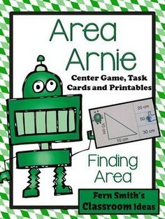 Area Arnie Mega Math Pack - Finding Area Printables, Center Game and Task Cards Free Preview Includes 4 #FREE  Colored Area Task Cards for YOU to try in YOUR classroom! #TPT $paid