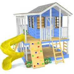 Elevated, 2 story children's playhouse plan with porch, slide, rockwall and ladder kids playhouse Childrens Playhouse, Backyard Playhouse, Build A Playhouse, Kids Playhouse Plans, Kids Outside Playhouse, Wooden Playhouse With Slide, Playhouse Slide, Treehouse Kids, Playhouse Ideas
