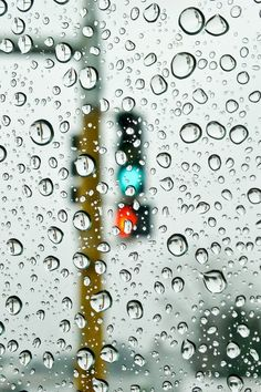 Rain and traffic lamp.