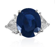 Alson Signature Collection 10.89 Oval Sapphire Accented with Two Trilliant Diamonds