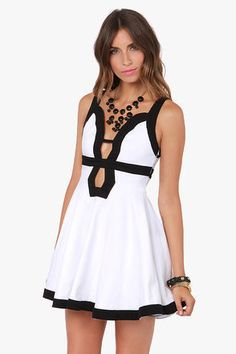 Forget-Me-Not Cutout Black and White Dress by LuLu*s