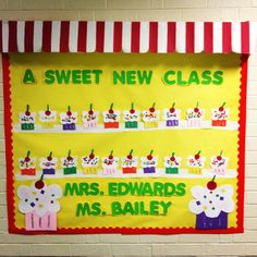 Back to school bulletin board. What kindergartener doesn't love cupcakes ;)