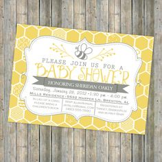 Attractive Bee Baby Shower Invitation, Bee And Honey Comb, Typography Shower Invitation,  Digital, Printable File