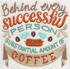 Coffee Apron, Server Apron, Barista Apron, Behind Every Successful Person Embroidered 8 oz Organic Cotton, Recycled Polyester Eco Apron Machine Embroidery Patterns, Embroidery Applique, Embroidery Ideas, I Love Coffee, My Coffee, Coffee Girl, Morning Coffee, Coffee Shop, Coffee Humor