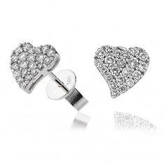 Stunning Diamond Heart Pavé Stud Earrings 0.50ct in White Gold.