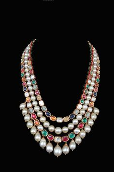 "gorgeous Navratnam--""9 Gems-signifies the 9 planets""and south sea perl necklace"