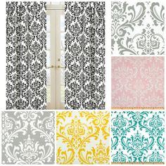 Damask  Curtains              Two Panels  Each 25 Wide   You Choose Length via Etsy