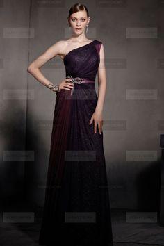 Superb One shoulder Long Multicolored Evening Dress | Fanny Crown