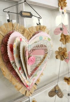 Lovely Valentine heart - hmmm, combine book page wreath ideas with this shape. Let them stack these up, with the vintage valentine print outs. Creative Valentines Day Ideas, Valentines Day Decorations, Valentine Day Crafts, Valentine Heart, Holiday Crafts, Fun Crafts, Arts And Crafts, Creative Ideas, Heart Decorations