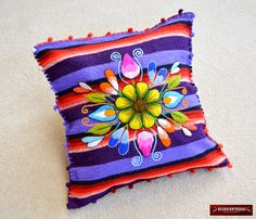 """16x16in Embroidered Pillow Sheep Wool - Cushion covers """"Garden Colors""""- Peruvian Pillow covers - sitting pillow case - Interior Decoration by DECORCONTRERAS on Etsy https://www.etsy.com/au/listing/288825073/16x16in-embroidered-pillow-sheep-wool"""