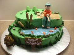 grass, wate/fish and rocks.....Fishing/hunting cake by fiestacakes, via Flickr