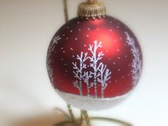 Rich Red Hand Painted Glass Christmas Ornament  by just4christmas, $11.00