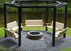 What an awesome firepit seating idea!