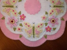 "Primitive Country ""Wool Butterflies and Blooms"" Penny Rug Candle Mat"
