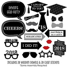 Graduation Cheers - 20 Piece Graduation Party Photo Booth Props Kit | BigDotOfHappiness.com