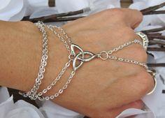 Celtic Hand Chain, Slave Bracelet, Ring Bracelet, Irish Pride, Celtic, Knot, Infinity, Silver plated, Hand Jewelry, Jewelry, Custom, Sized