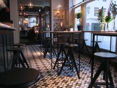Wine bar, cement floor tiles, Marrakech design Cultor Stockholm.