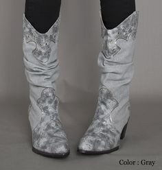 AnnaKastle New Womens Slouch Glitter Linen Snake Print Cowboy Western Boots  Tall  03980381656c