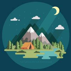 night landscape in the mountains. Hiking and camping. flat illustration vector…