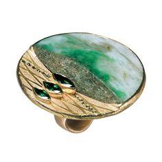 18k Gold, Jade, Smaragde 1,45 ct , grüne Diamanten 0,12 ct