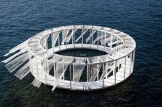 AntiRoom II is a circular wooden meditation space floating off the coast of Malta