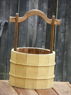 Photography Prop...Wooden Bucket Prop...Antique Look Photo Prop....Handmade Wooden Bucket. Maybe fir a faux wishing well in the yard? via Etsy.