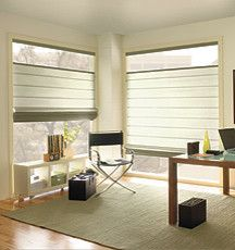Levolor® Roman Shades: Designer Textures - #contemporary - #romanblinds - Blindsgalore - A #bright and #airy #office is sure to keep you motivated throughout the work day. #romanshades #modernofficefurniture #windowtreatments