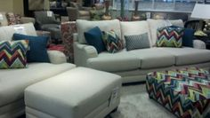 Miskellys Furniture-couch, colorful accents