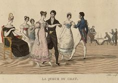 Because a ball was considered a social experience, a couple could (at the most) dance only two sets (each set consisted of two dances), which generally lasted from 20-30 minutes per dance. Thus, a couple in love had an opportunity of spending as much as an hour together for each set.  img http://regencydances.org/paper004.php