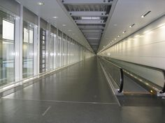 Endless hallway at the airport in Munich, Germany