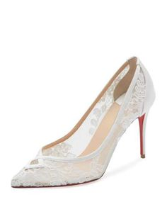 S0GET Christian Louboutin Neoalto Lace 85mm Red Sole Pump, White