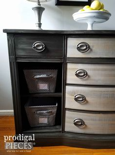 Vintage Buffet with Baskets and Gray Paint by Prodigal Pieces   www.prodigalpieces.com