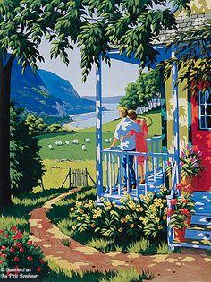 "Rémi Clark - ""Still flowers"" Art And Illustration, Landscape Art, Landscape Paintings, Clark Art, Kunst Poster, Cottage Art, Pintura Country, Great Paintings, Canadian Art"
