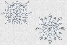 INSTANT DOWNLOAD Winter Snowflakes Redwork by embroiderygirl