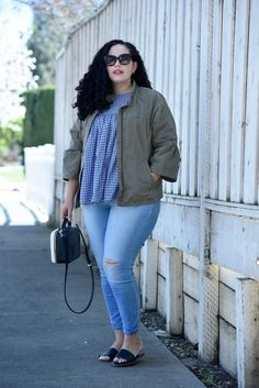 How to make Gingham Wearable for Everyday via @GirlwithCurves. Featuring top from Asos, Jacket from Banana Republic, Jeans from Old Navy, Bag from Kate Spade, Lipstick from Sephora, and Sunglasses from Celine.