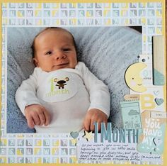 Layout: 1 Month - Love the use of an enlarged photo on this darling baby layout!