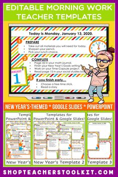 These New Year's-themed Editable PowerPoint and Google Slides Teacher Templates include space to type the day and date, reminders of what to do when entering the classroom, as well as 'must do' and 'may do' assignments. Remind your students of their morning assignments during arrival time by displaying them on your whiteboard or SMARTBoard. #teachertemplates #morningarrivalinstructions #editable #powerpoint #googleslides #newyear